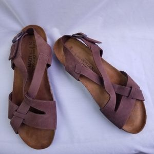 Naot Flat Leather Sandals Adjustable Strap Brown